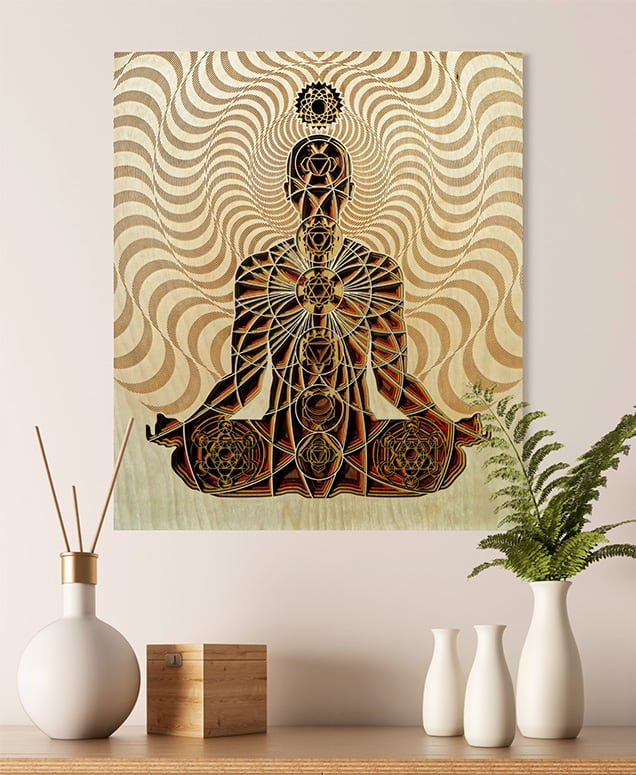 Laser Cut Chakra Artwork Mock Up