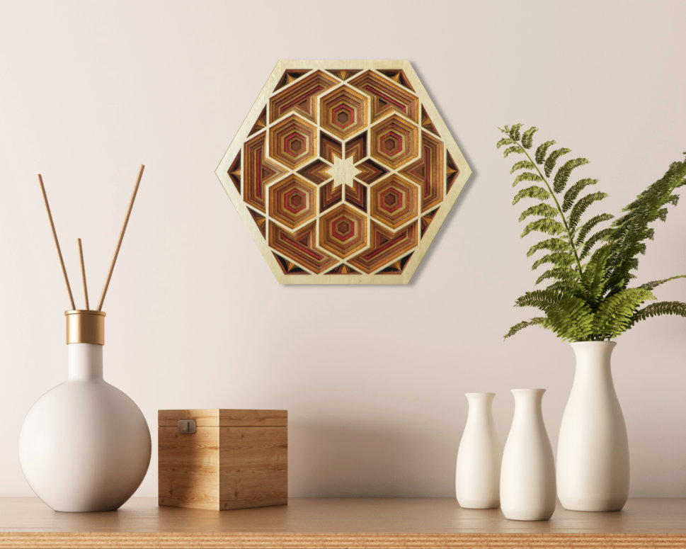 Laser Cut Hexagon Mandala Mock Up