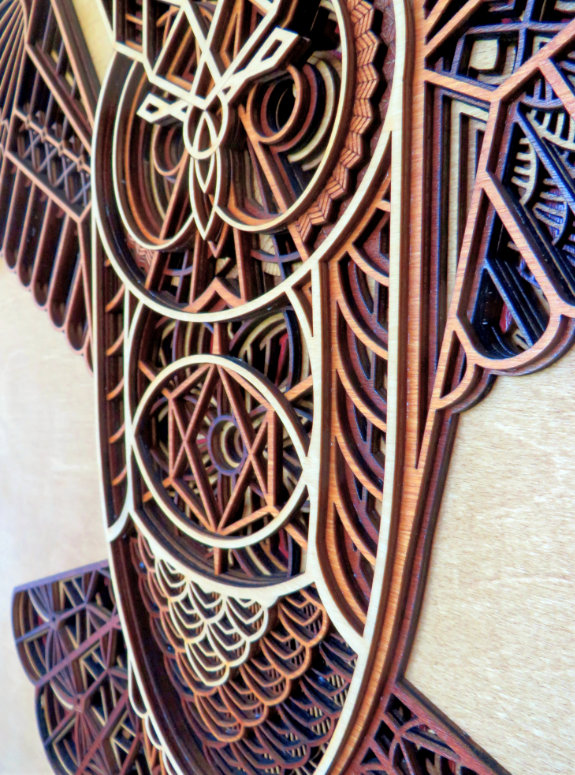 Laser Cut Owl Artwork Body Detail