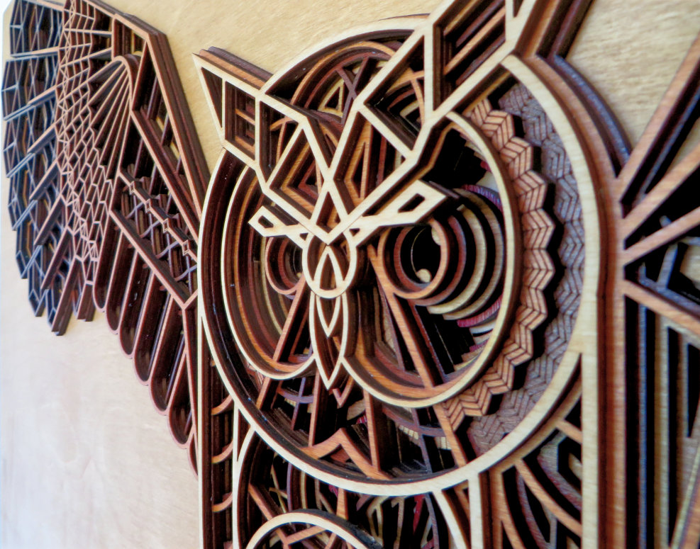 Laser Cut Owl Artwork Detail