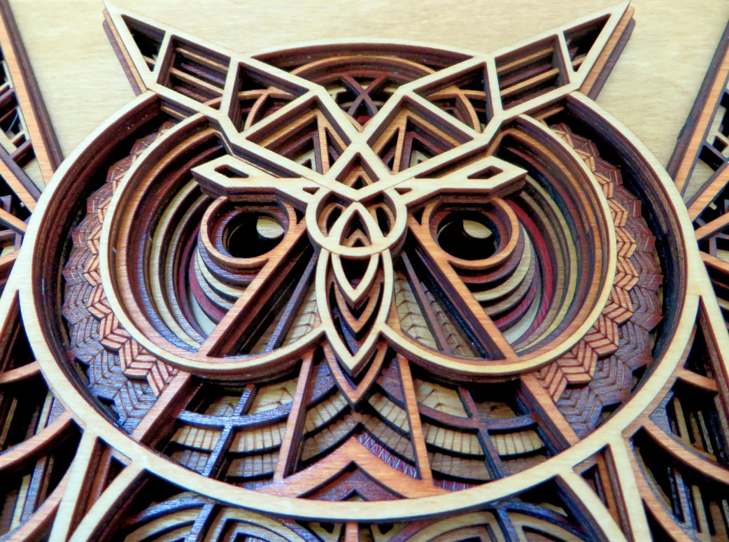 Laser Cut Owl Face Close Up